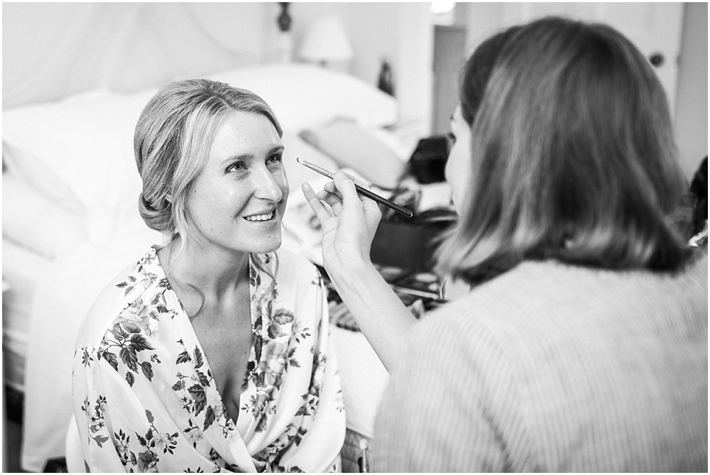 Bride has make up done