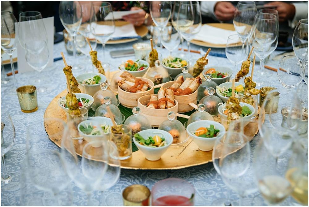 asian starter platter at wedding
