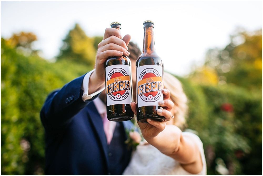 Bride and groom and homemade beer
