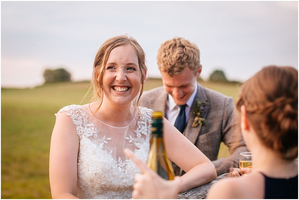 happy bride at golden hour
