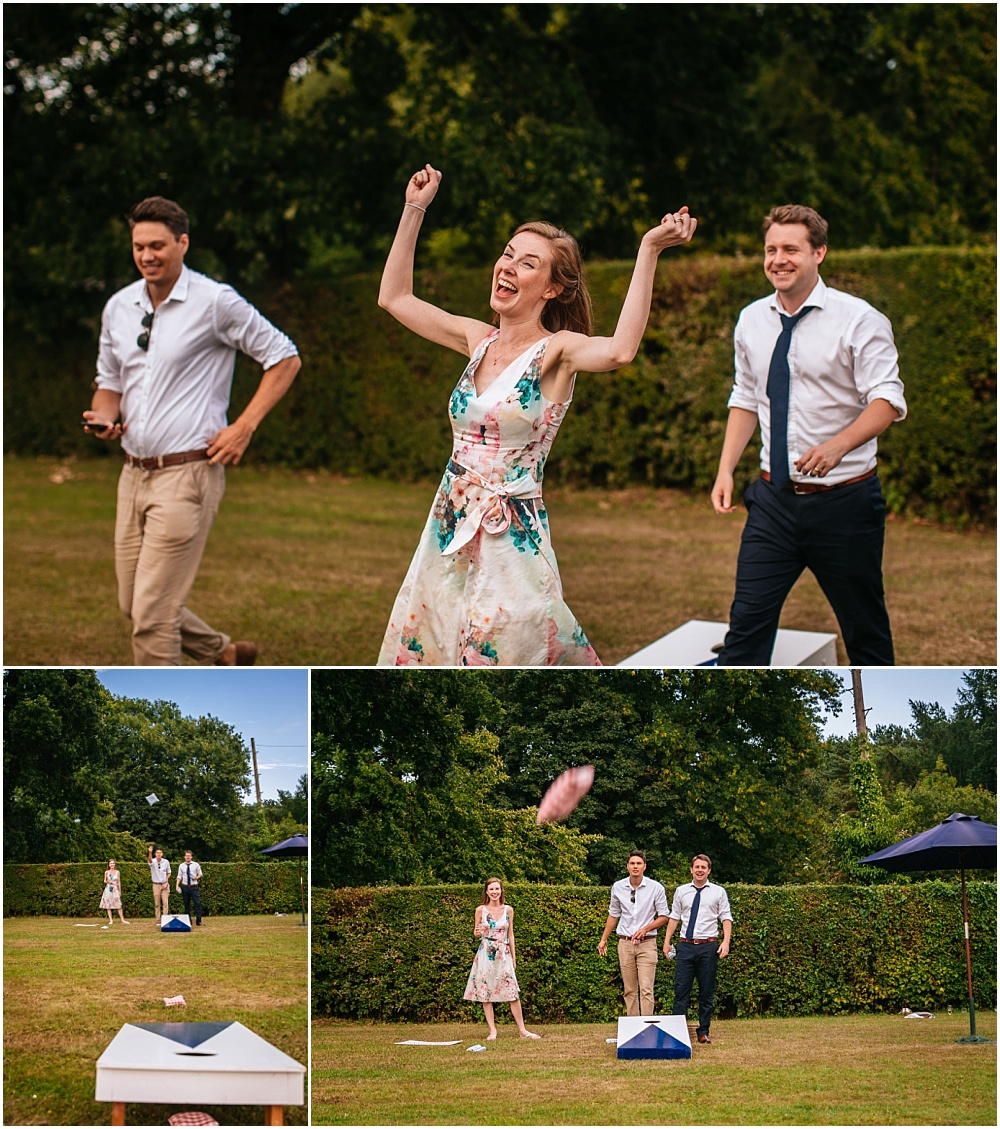 Garden games at english wedding