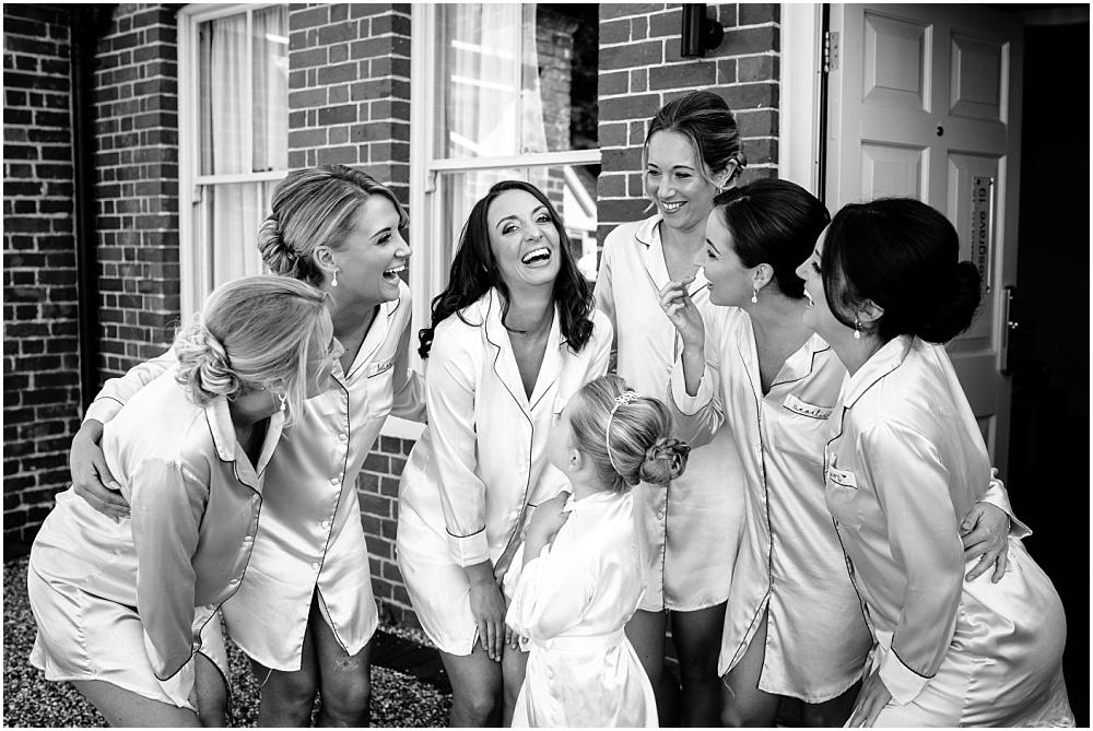 Bride and bridesmaids during bridal prep