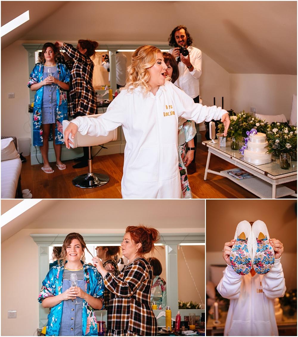 Bride in pre wedding jumpsuit
