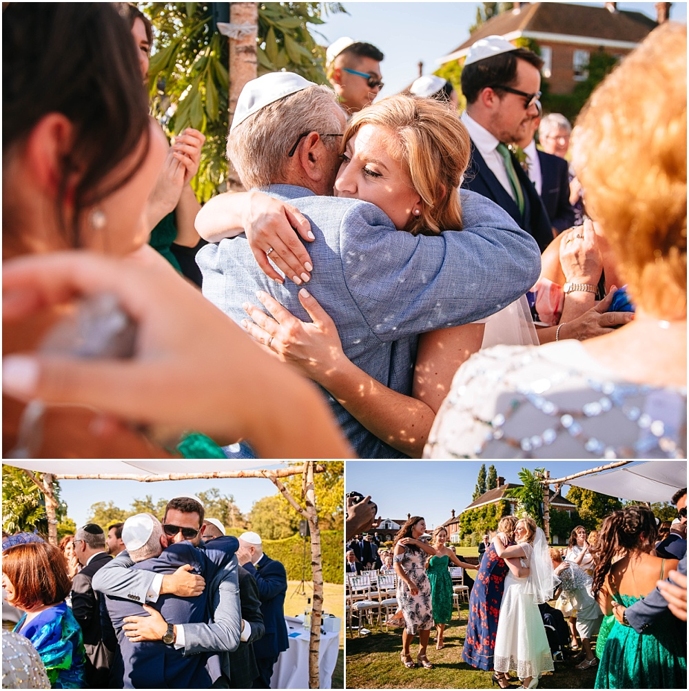 Big hugs after wedding ceremony