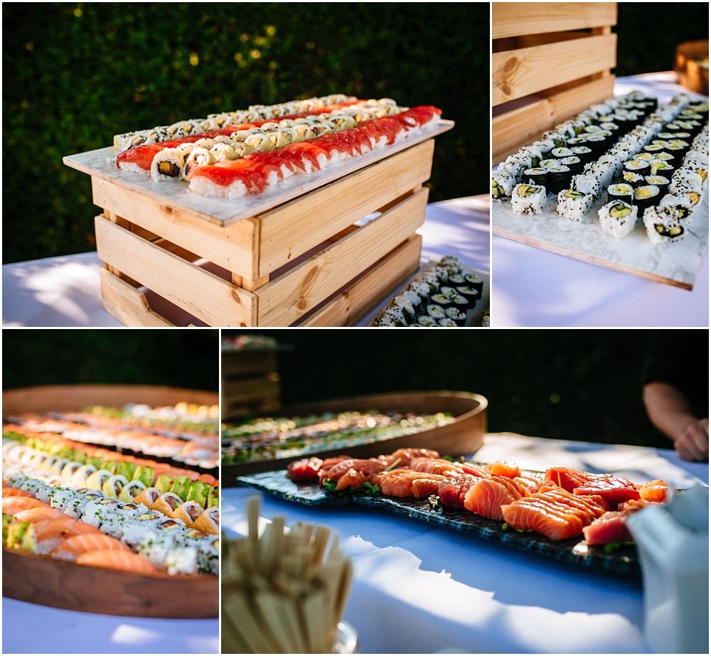 sushi bar at wedding