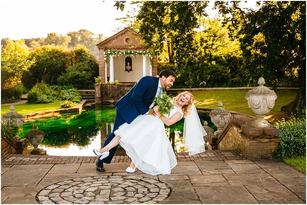 Bride and groom dip by micklefield temple