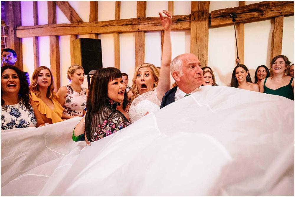 Bride in parachute