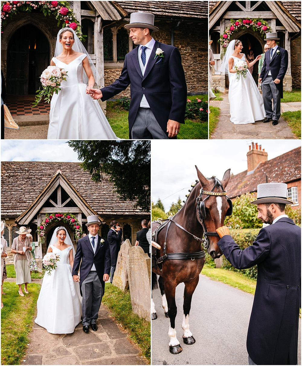 bride surprised by cart and horse
