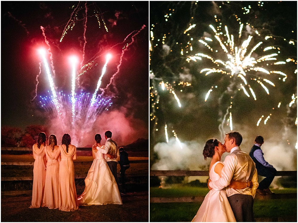 fireworks at marquee wedding