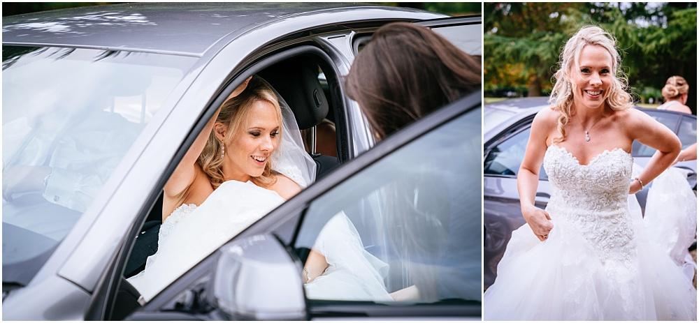 bride arriving at northbrook park