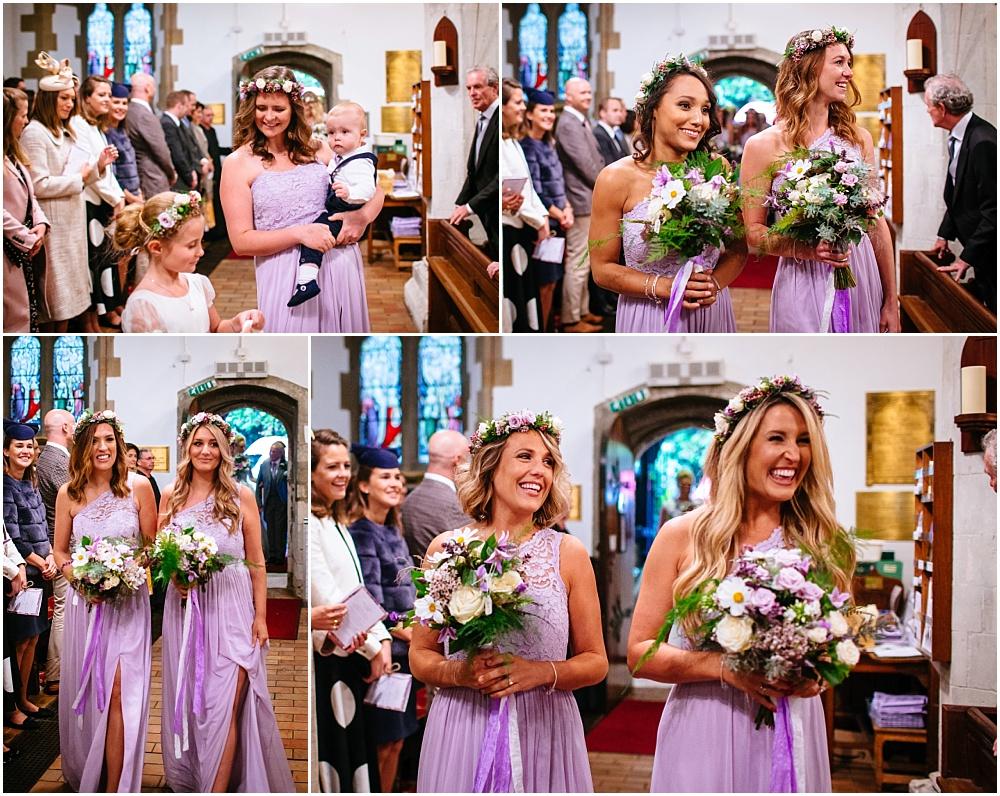 bridesmaids entering the church