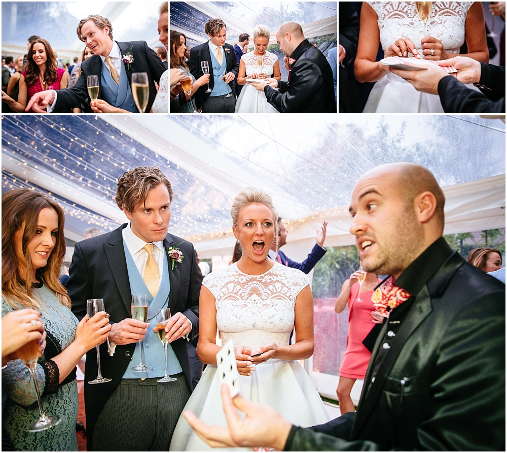 bride and groom react to magic