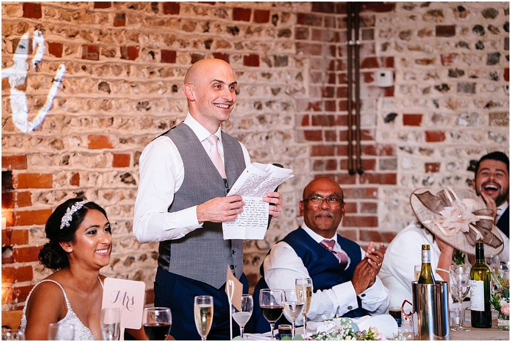 Groom doing wedding speech