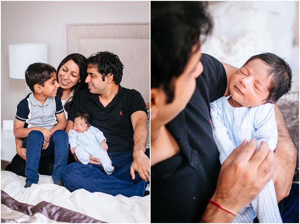 Family with beautiful newborn boy