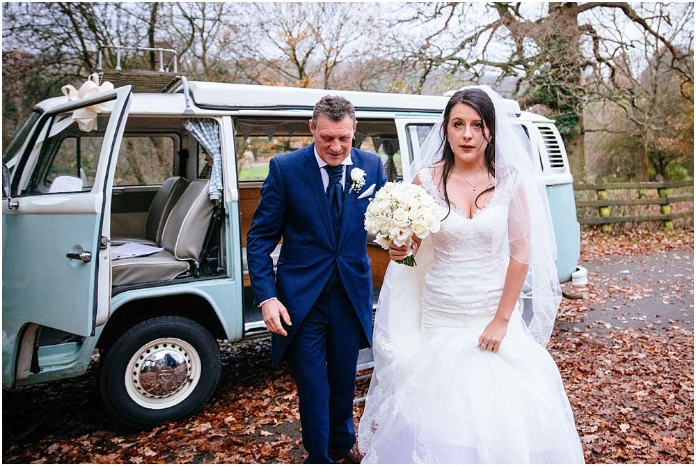 nervous bride arrives at wedding