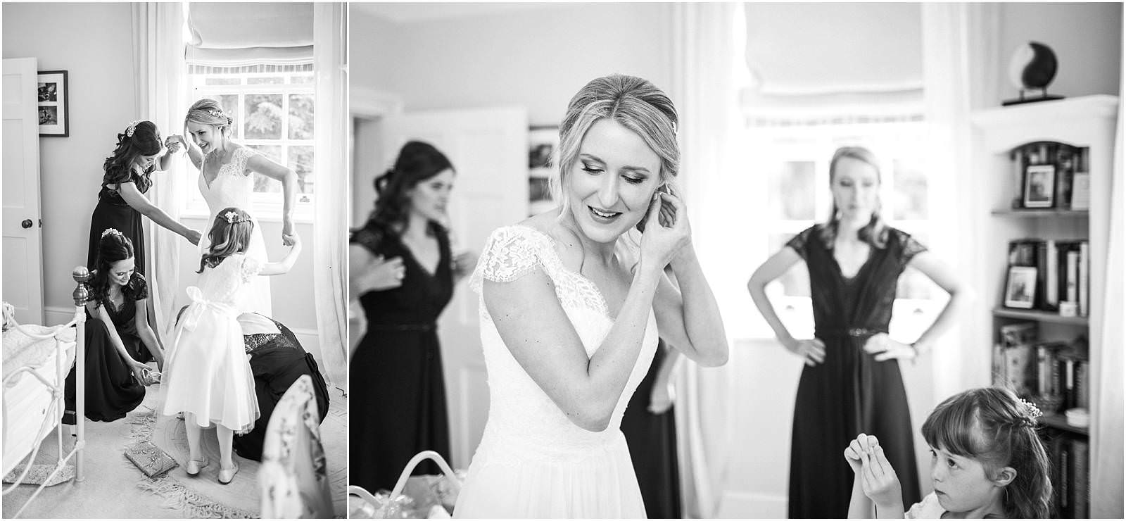 Bride getting ready for marquee wedding