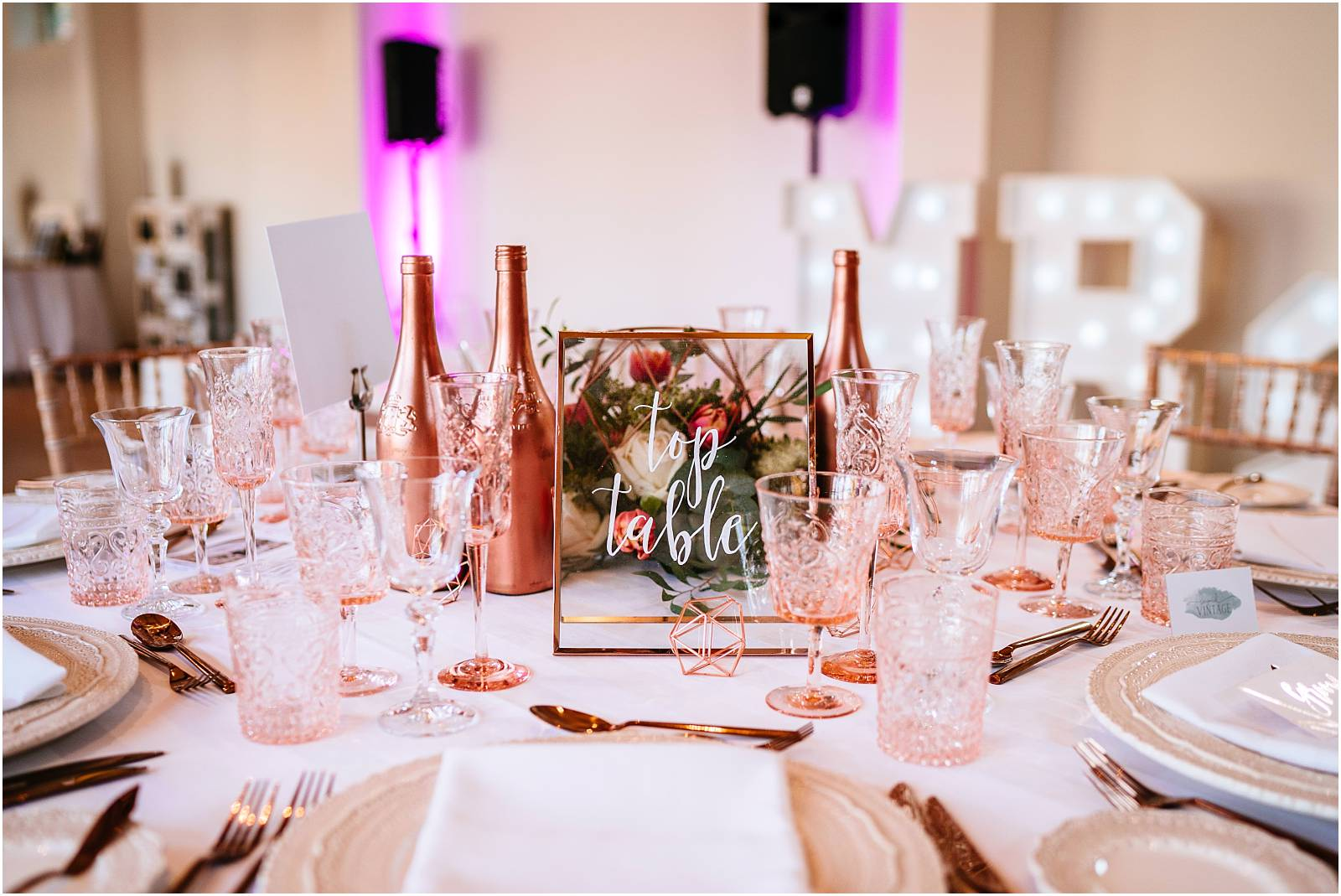 Copper wedding breakfast table