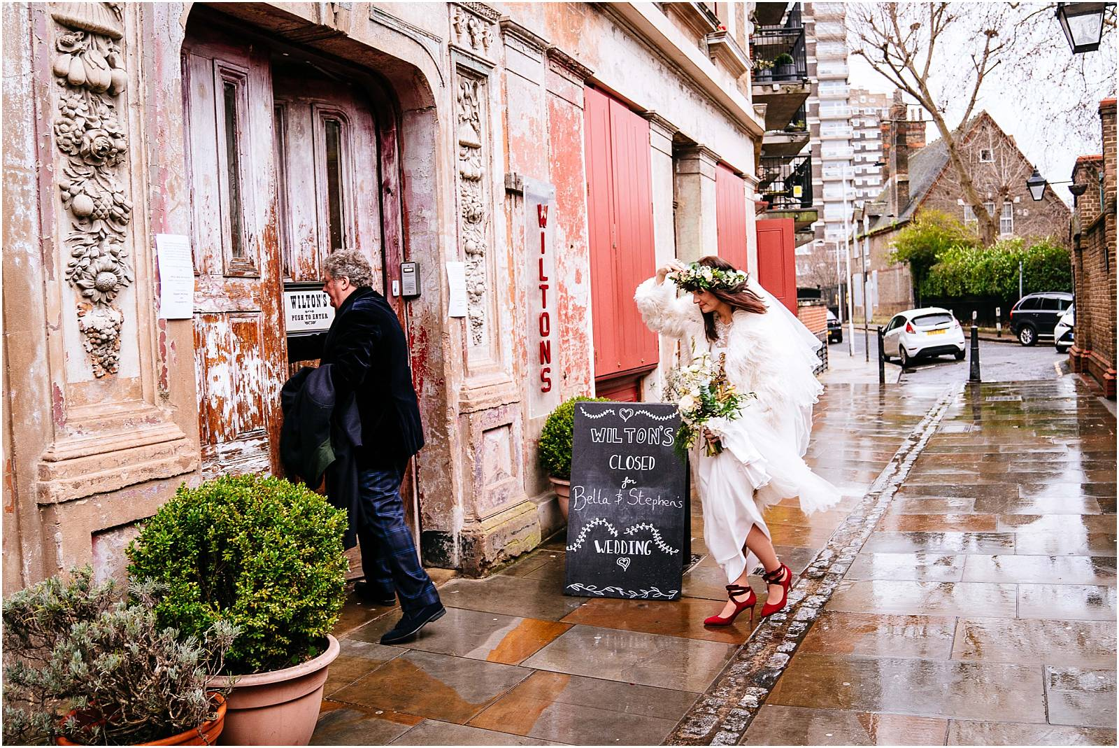 february bride in awesome top shop coat