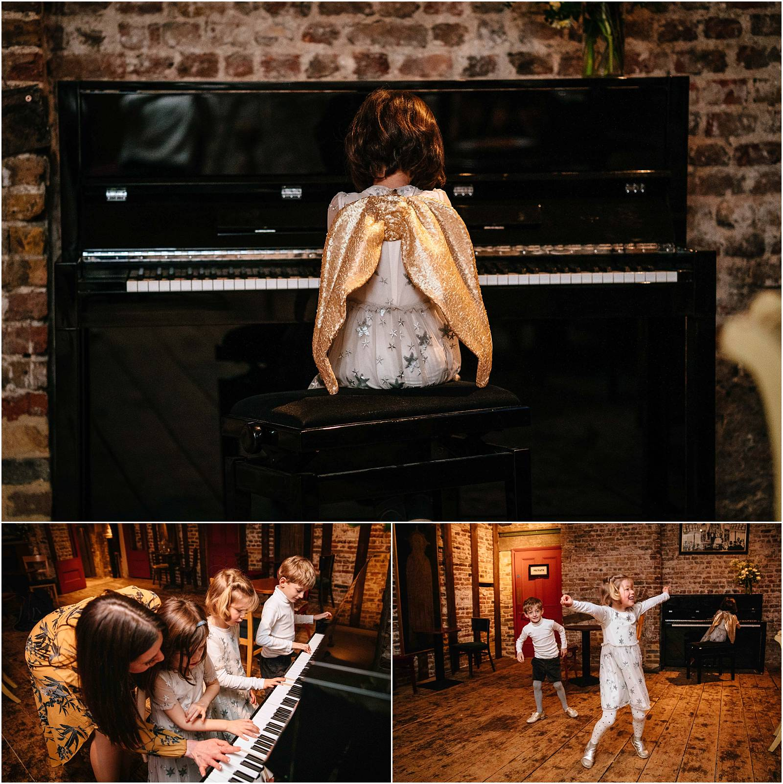 flower girl with wings plays piano at wiltons