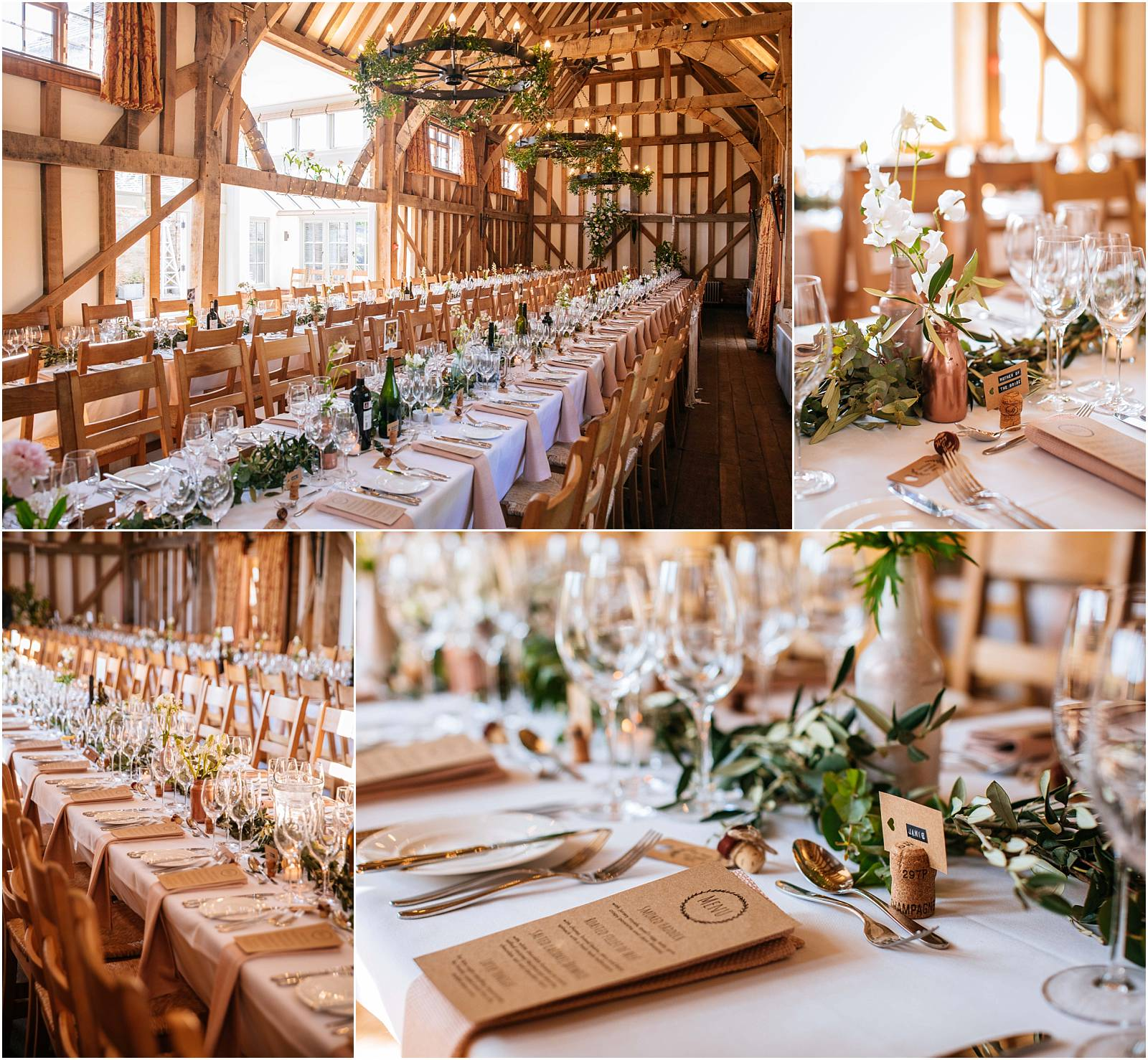 gate street barn wedding breakfast with long tables