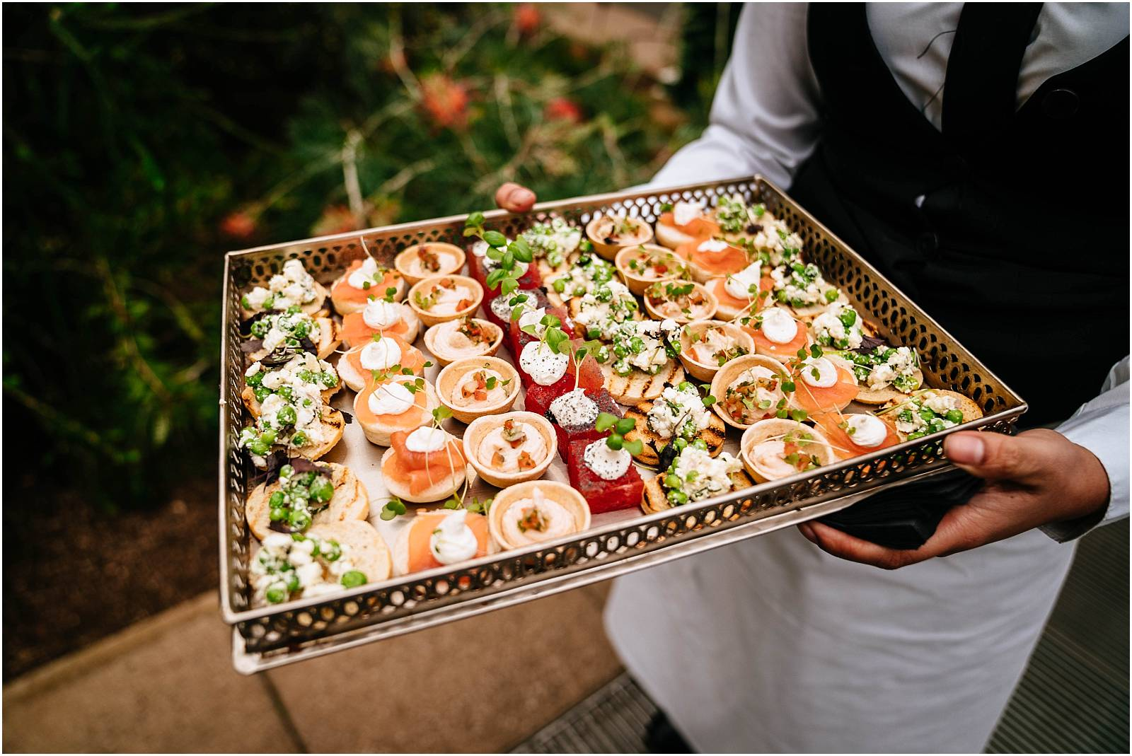 caper and berry canapes at kew gardens