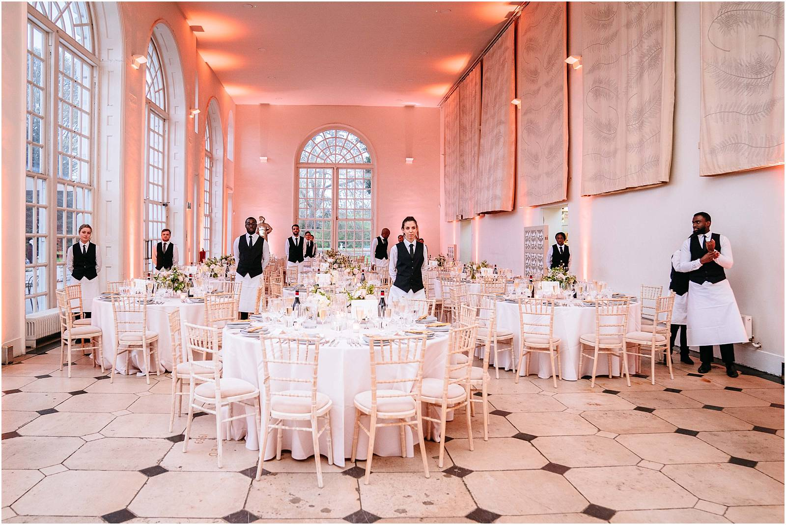 The orangery set up for a wedding reception
