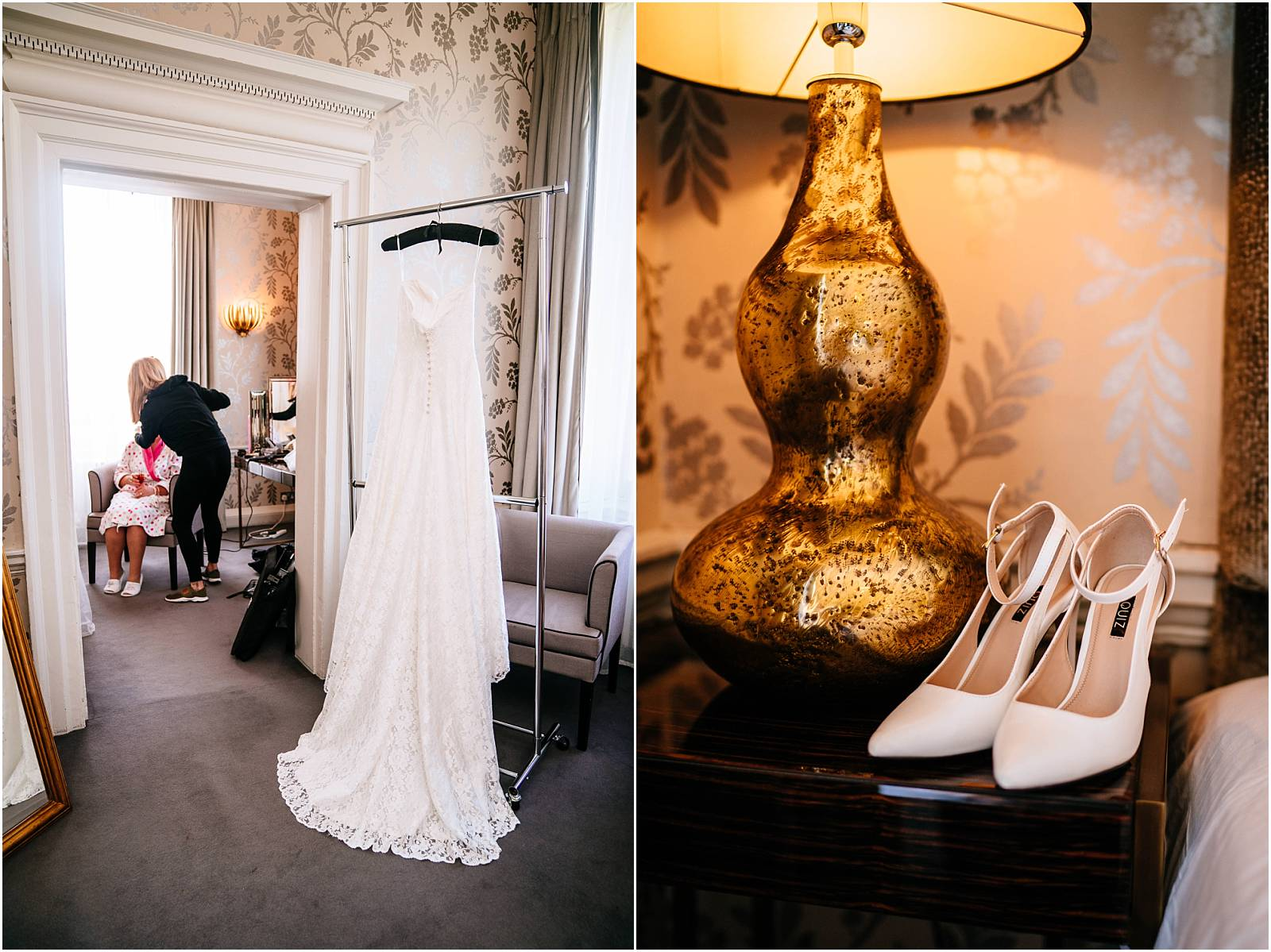 wedding dress and shoes at morden hall