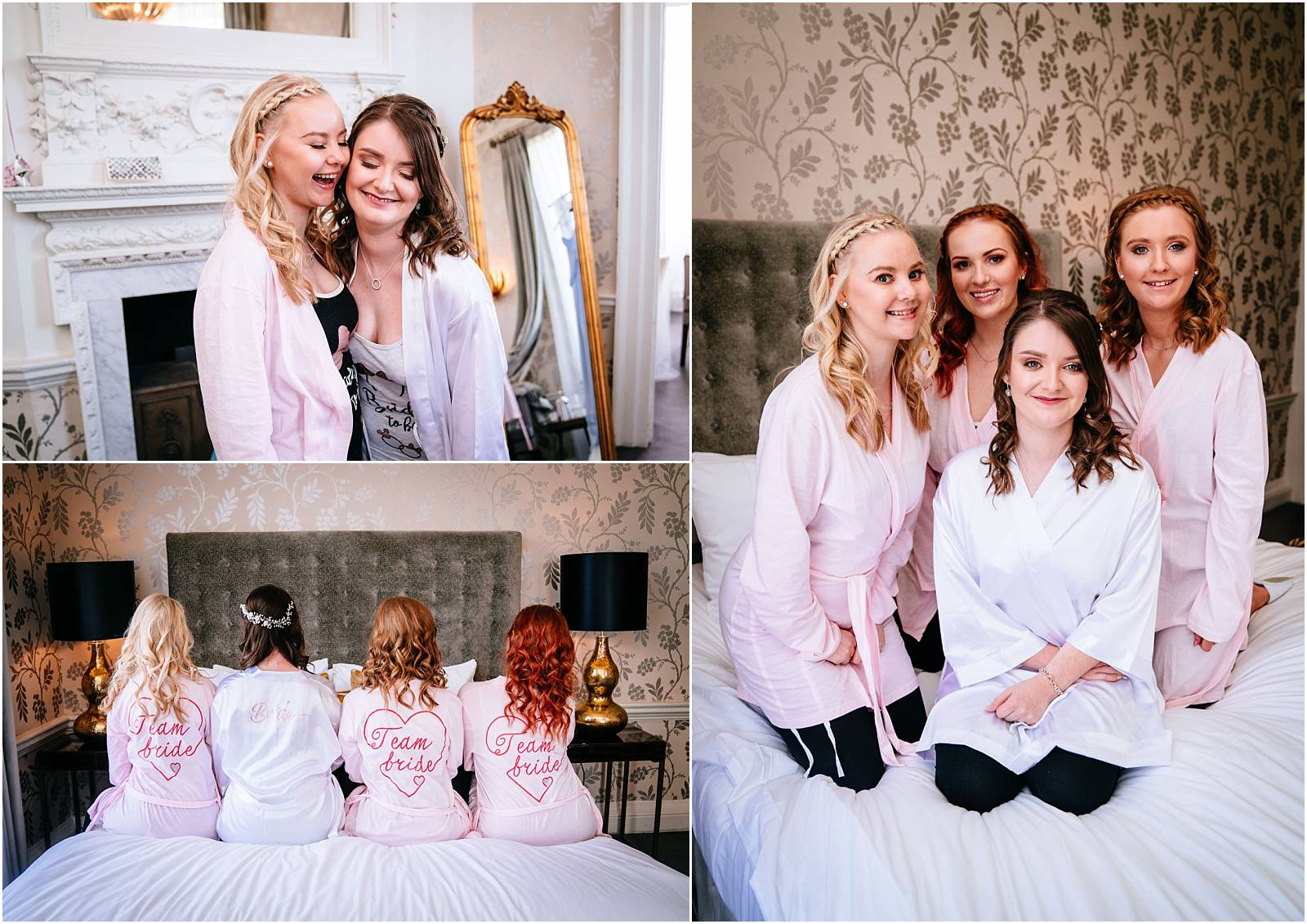 photo of bridesmaids in wedding robes
