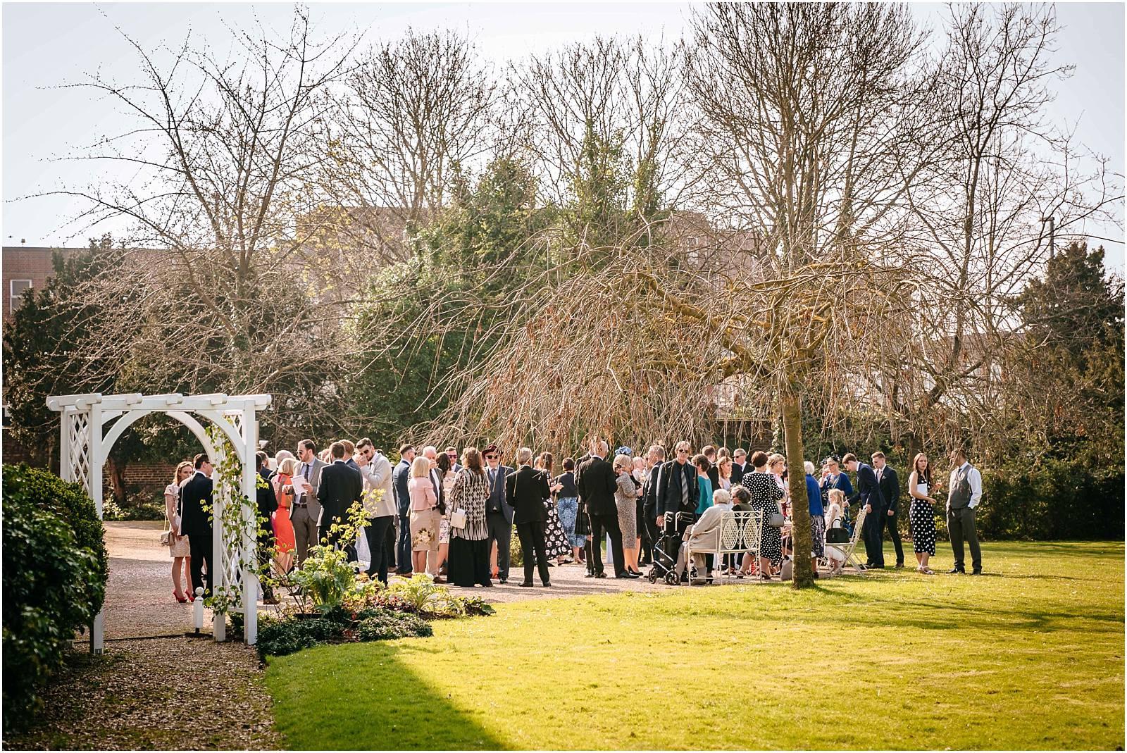 guests enjoying morden hall wedding