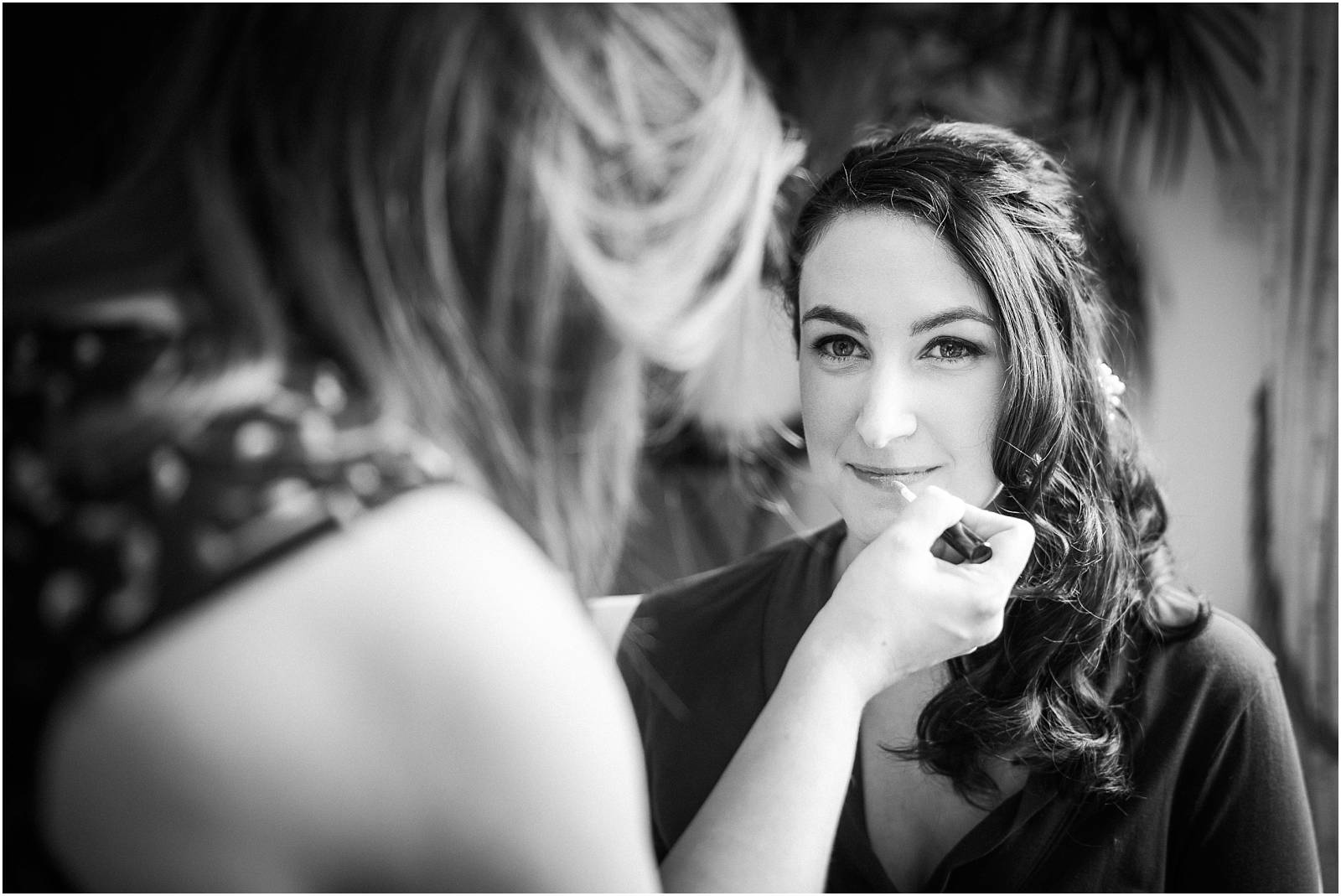 bride having make up applied by n wiggins