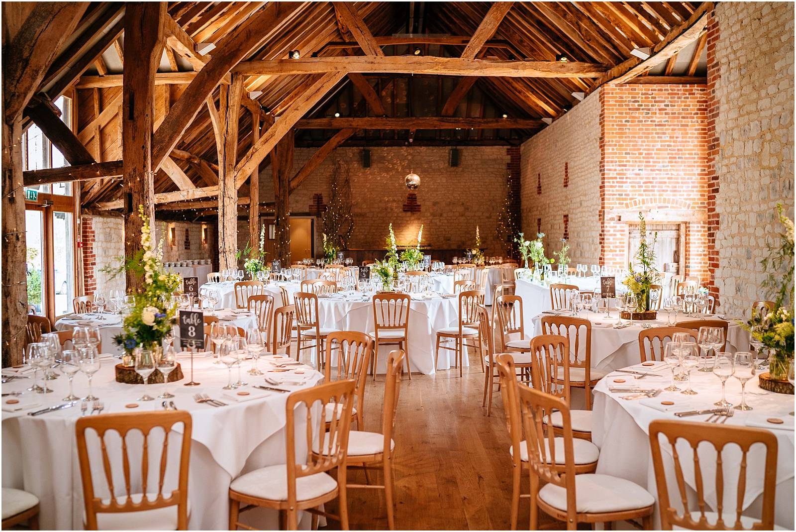 bury court barn set up for wedding