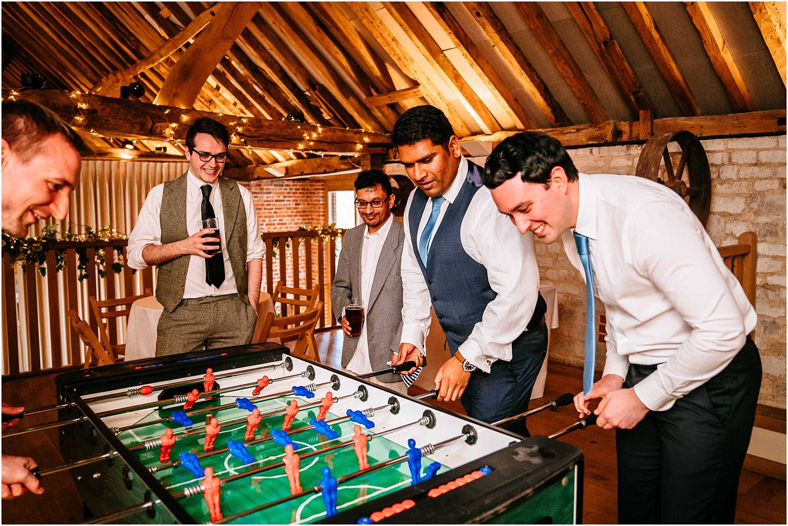 table football at a wedding