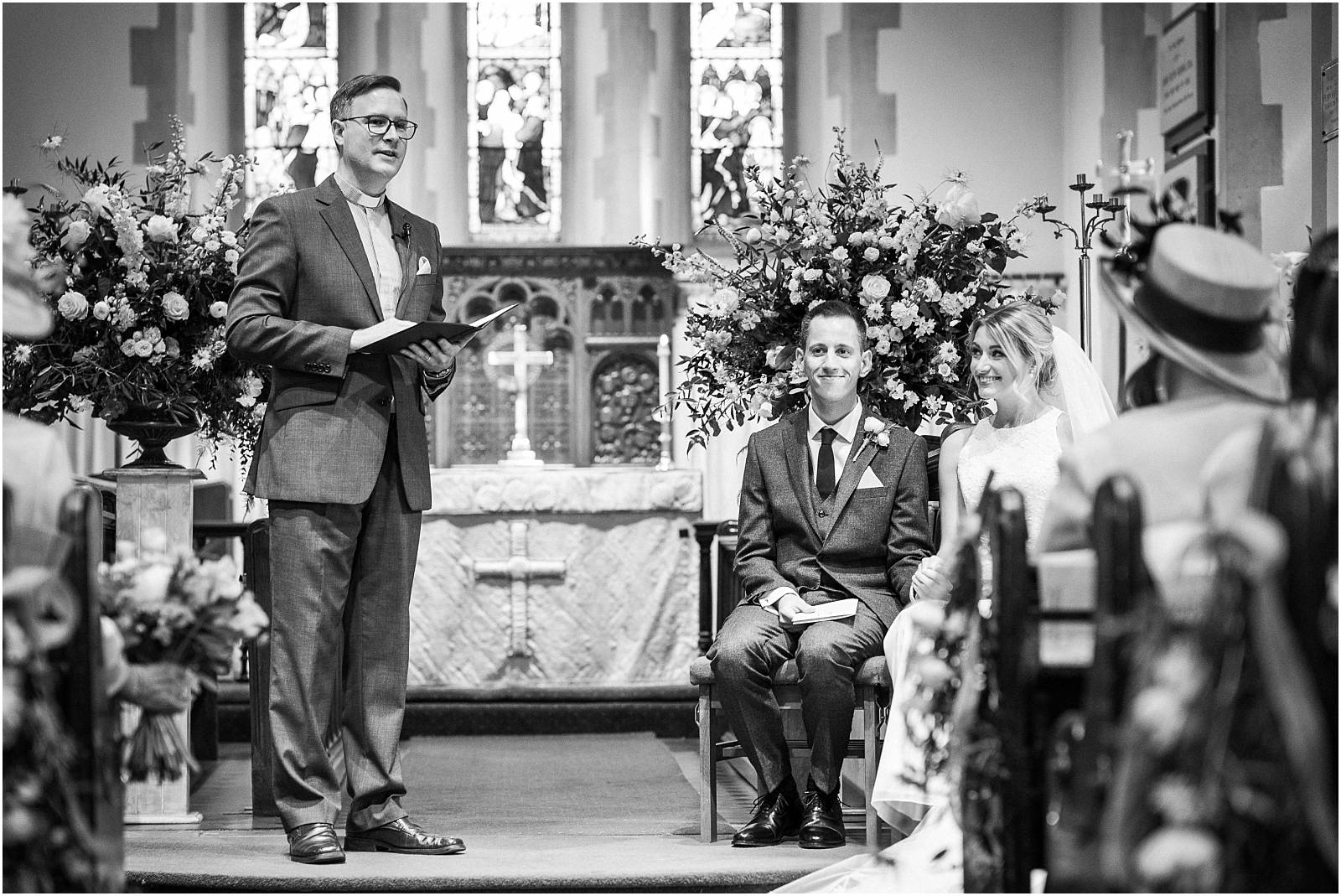 black and white wedding service photograph
