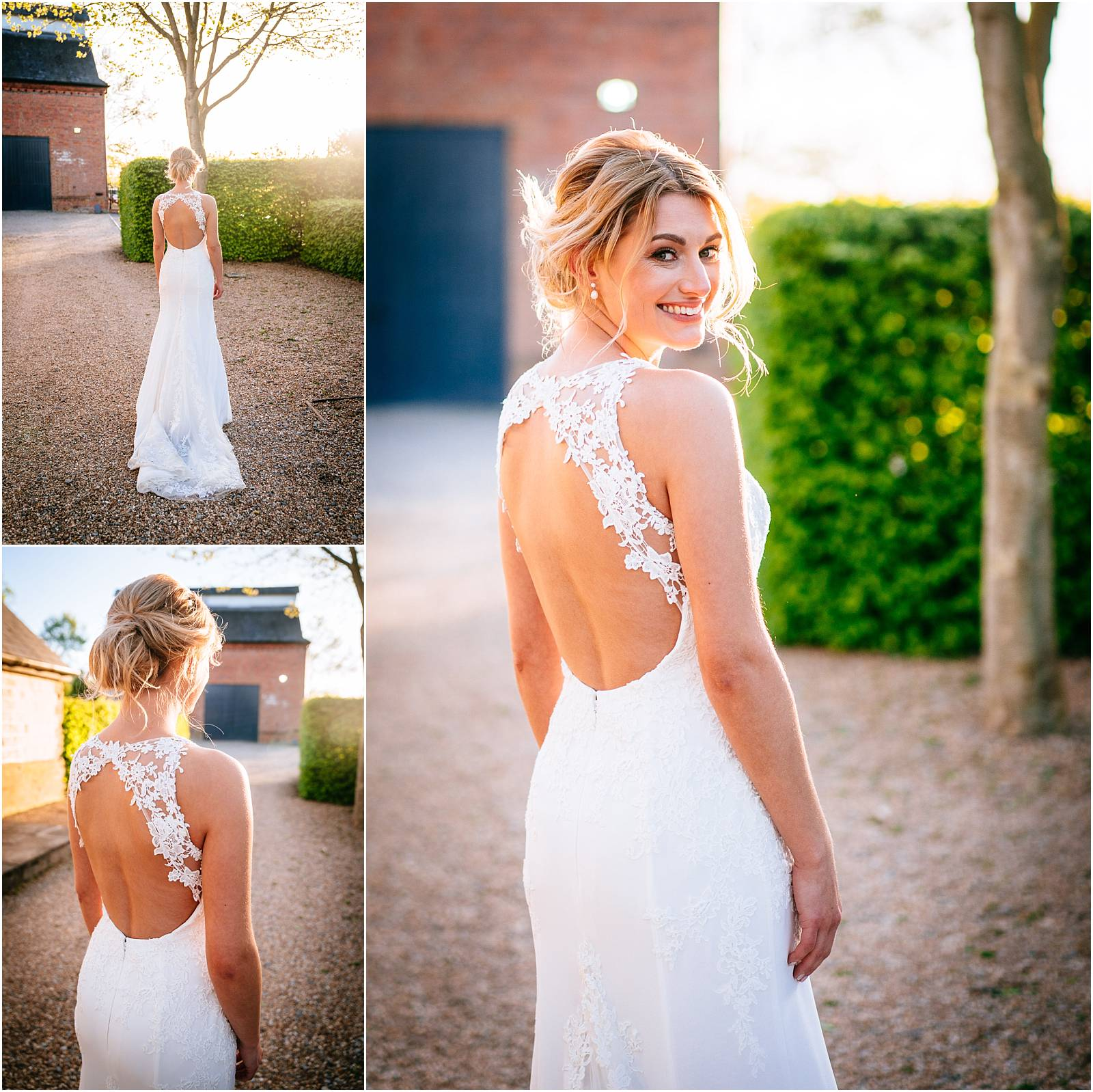 stunning golden hour portraits of bride in Ingwiller wedding dress by Enzoani