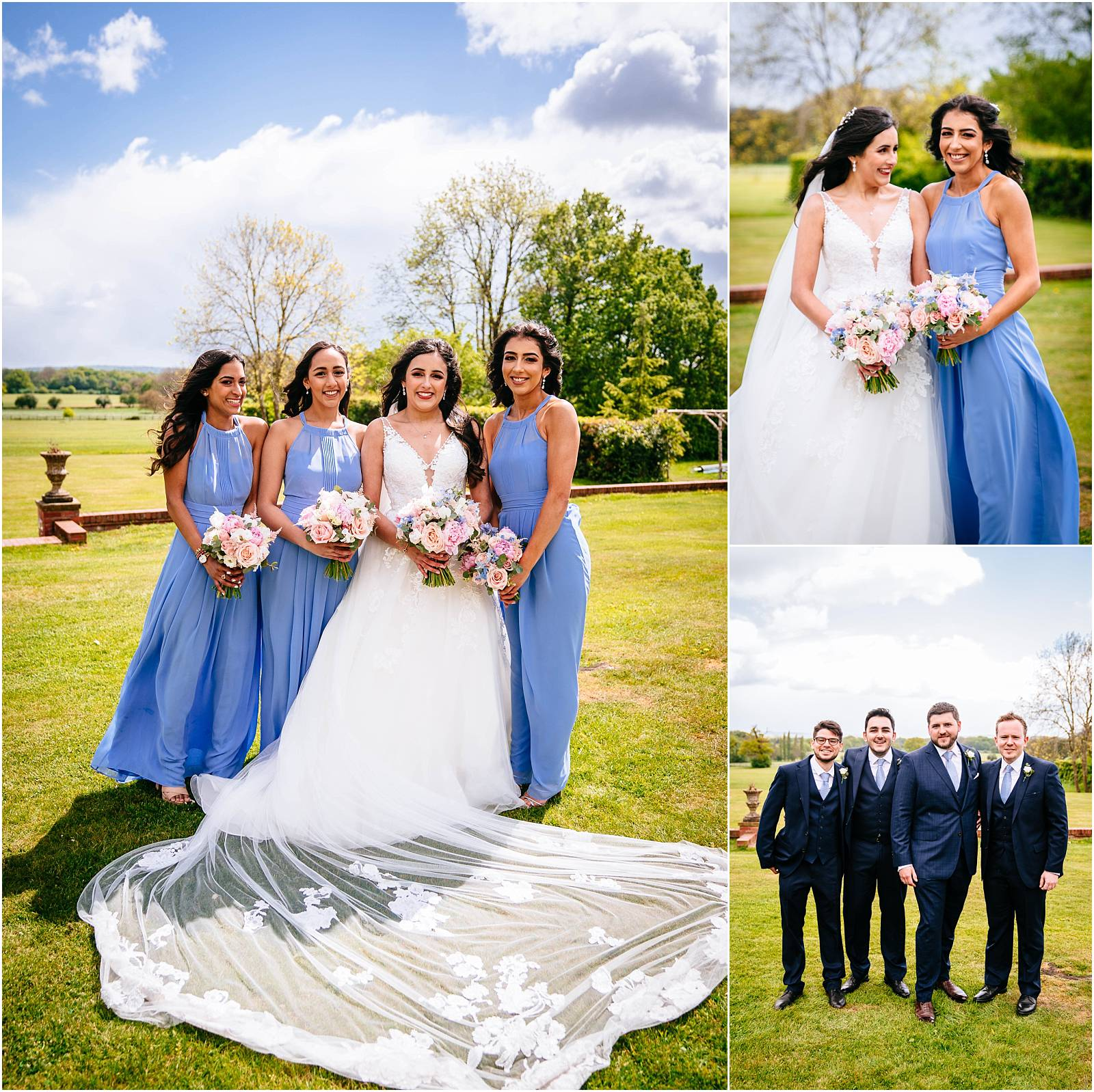 pronovias wedding dress and veil and cornflower blue bridesmaid dresses