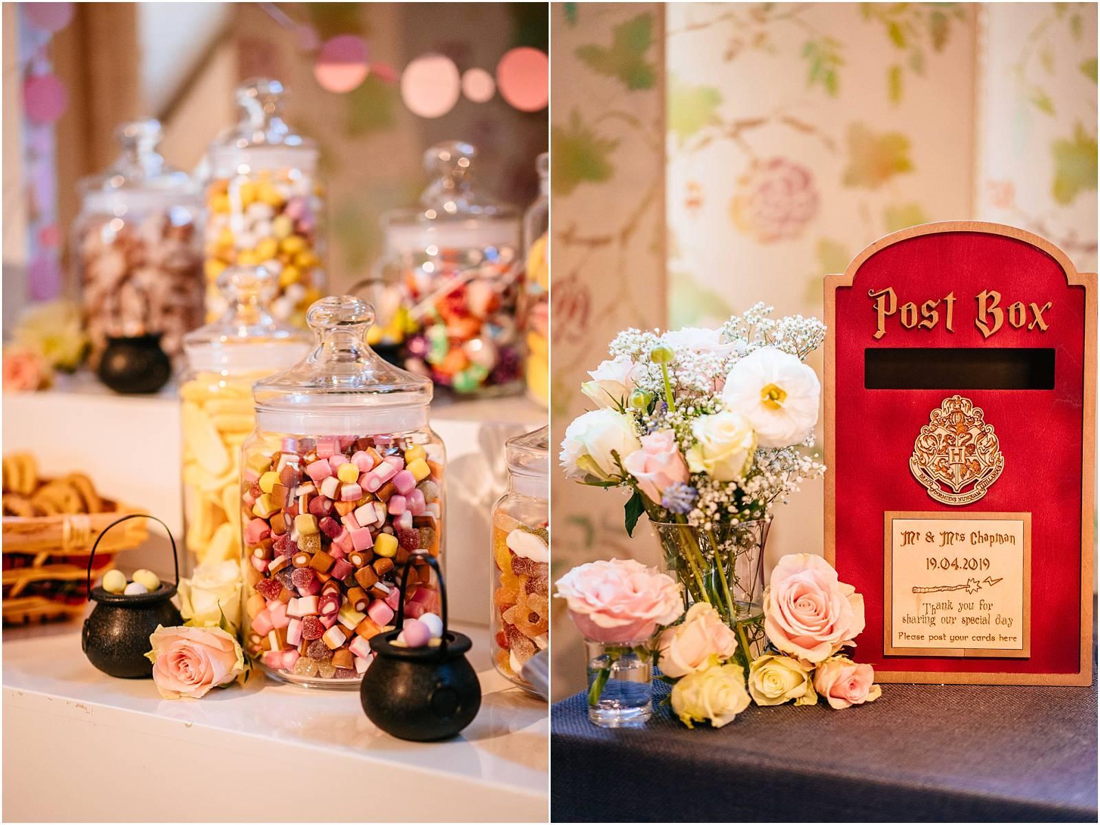 harry potter card post box at wedding