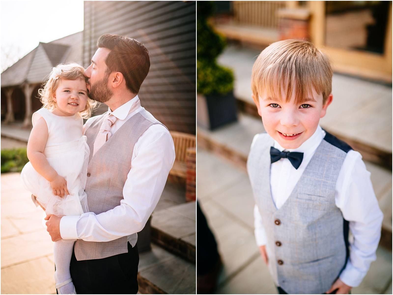 kids at wedding in golden hour
