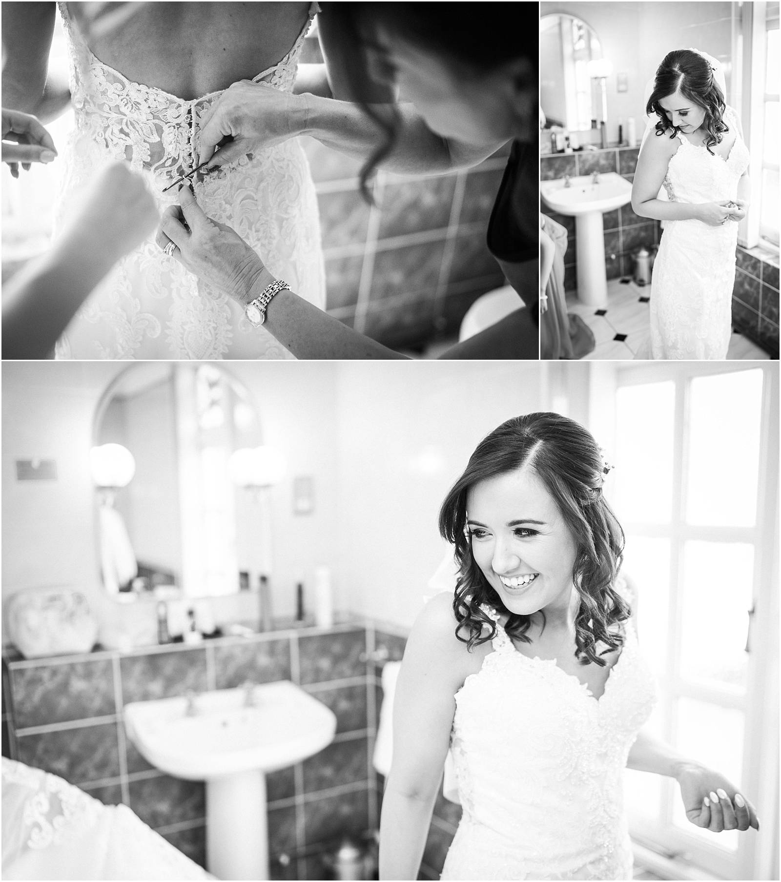 black and white photographs of bride putting on wedding dress