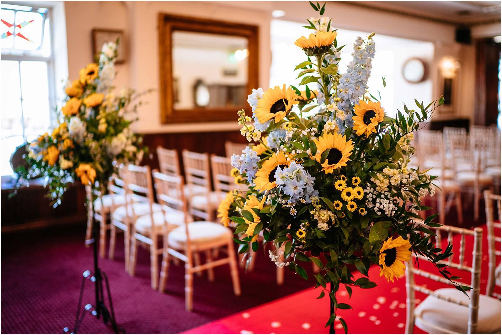 two bridges wedding ceremony sunflowers