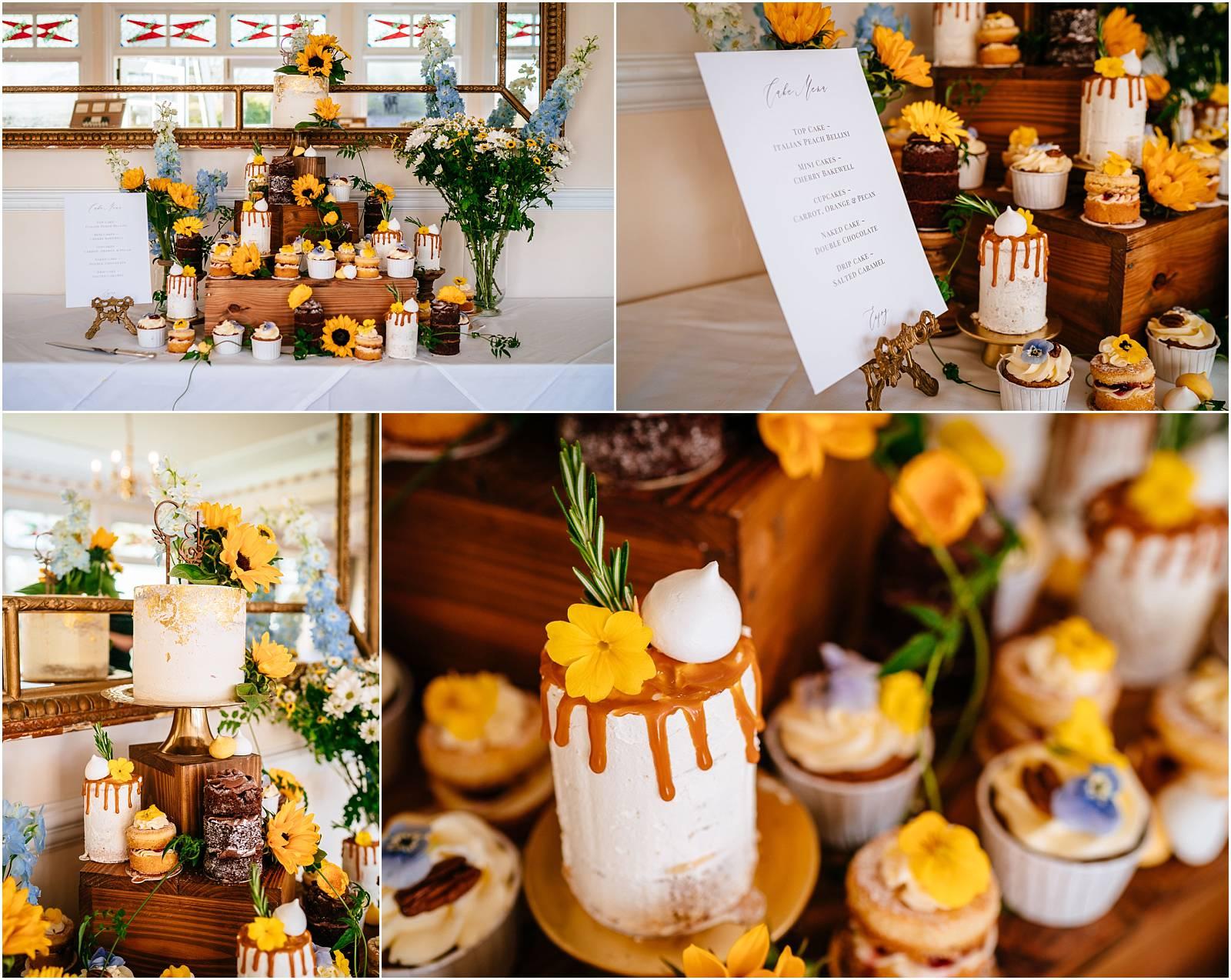 stunning mini cake spread at wedding