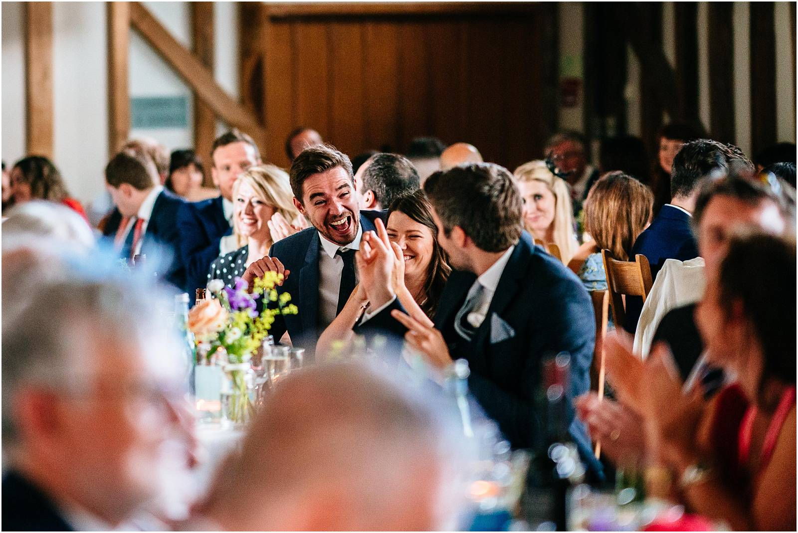 laughing during wedding speeches