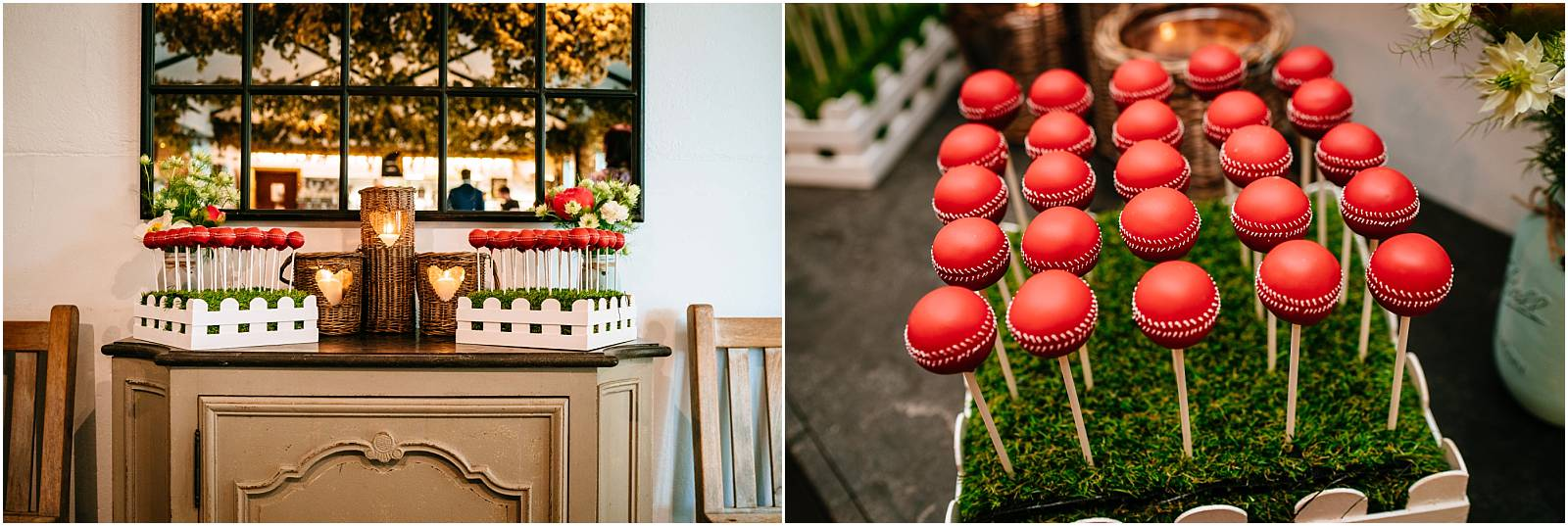 cricket themed wedding cake pops