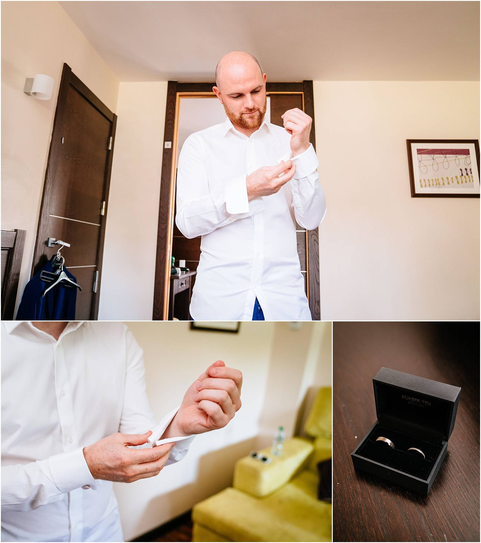 groom getting ready for wedding at northbrook park