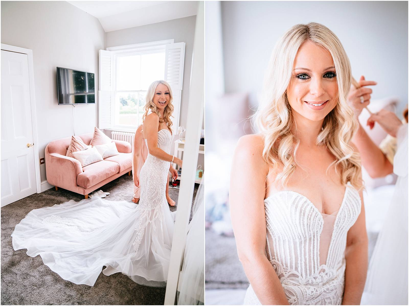 stunning bride getting ready in bridal suite at northbrook park