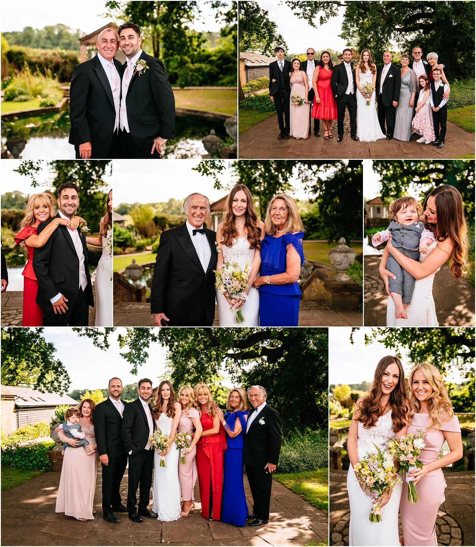 relaxed family group photographs at wedding