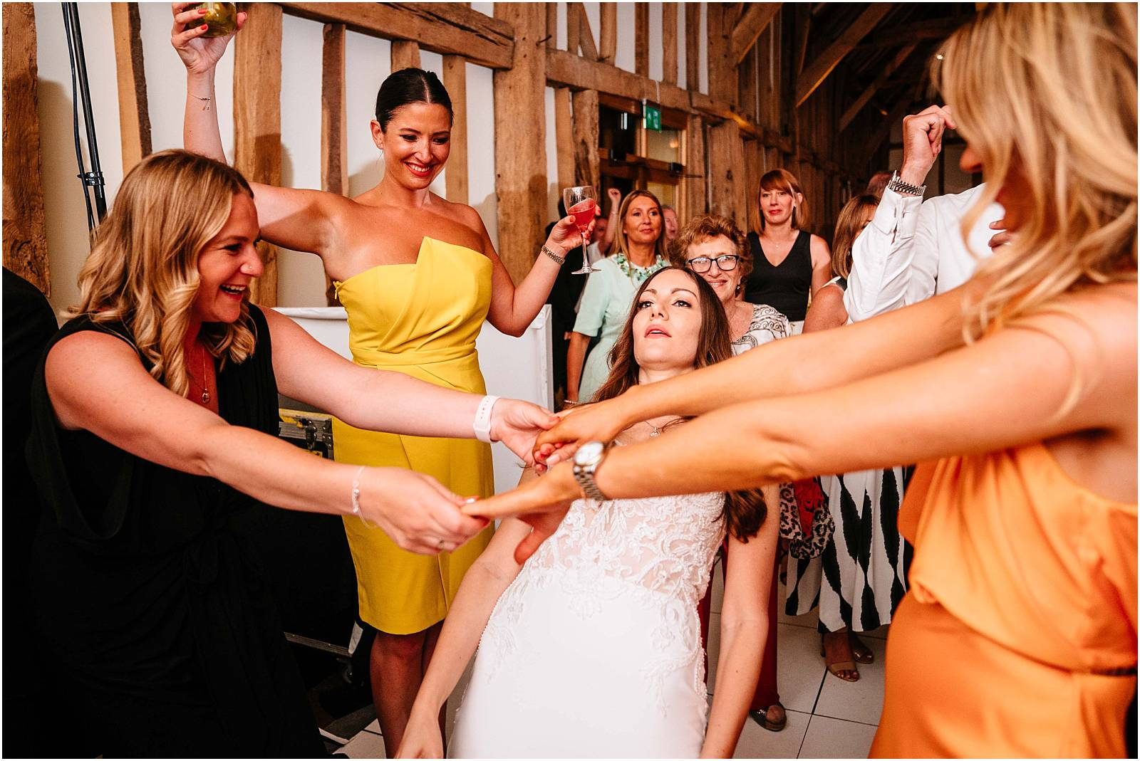 bride does limbo at hertfordshire wedding