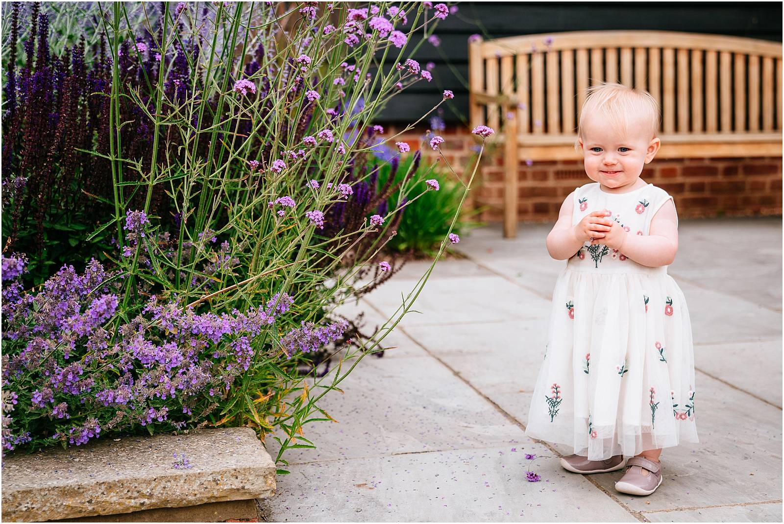 cute toddler and lavender