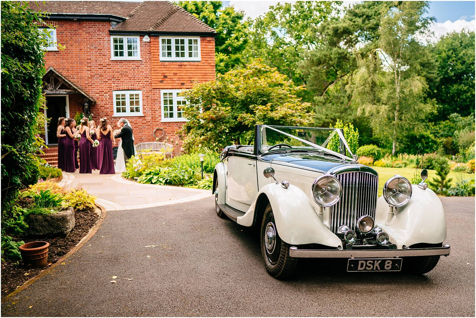 vintage wedding car in surrey