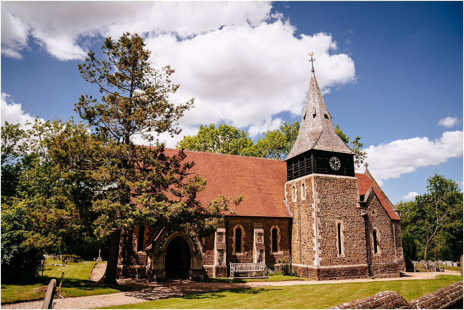 pretty village wedding church in surrey