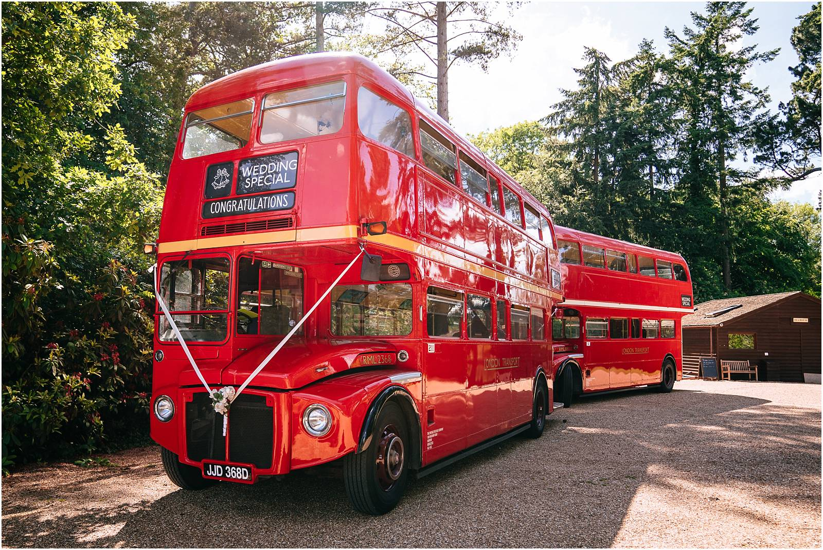 red london buses at surrey wedding
